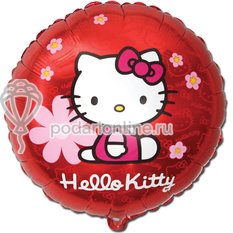 шары 18 Hello Kitty в цветочках